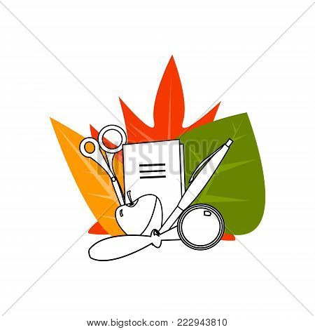 Back to School, Set of School Suplies With Autumn Leaves Vector Illustration