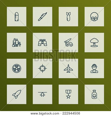 Army icons line style set with order, officer, radiation and other target  elements. Isolated vector illustration army icons.