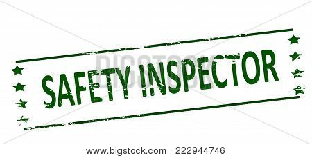 Rubber stamp with text safety inspector inside, vector illustration