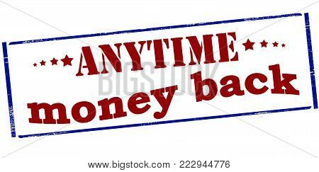 Rubber stamp with text anytime money back inside, vector illustration