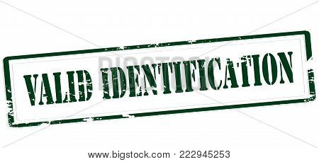 Rubber stamp with text valid identification inside, vector illustration