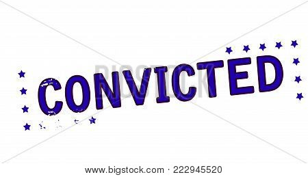 Rubber stamp with word convicted inside, vector illustration