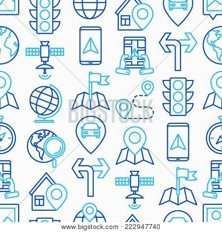 Navigation and direction seamless pattern with thin line icons: pointer, compass, navigator on tablet, traffic light, store locator, satellite. Modern vector illustration for print media, web page.