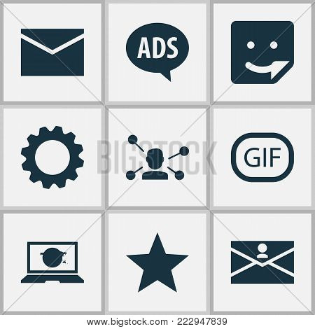 Internet icons set with gif sticker, laptop, chat and other relation elements. Isolated  illustration internet icons.