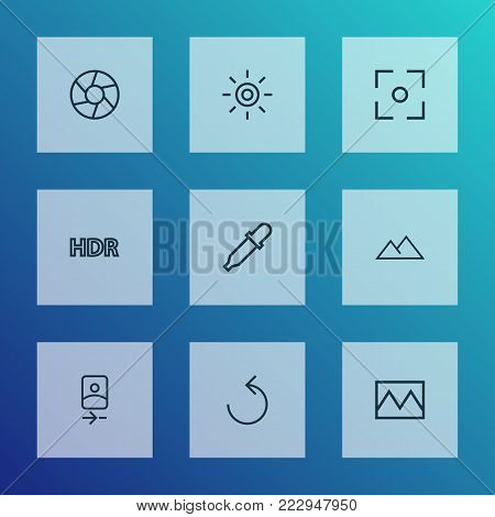 Image icons line style set with center focus, shutter, filter and other broken image elements. Isolated  illustration image icons.