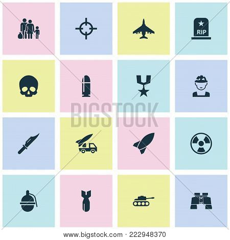 Warfare icons set with military, rip, fugitive and other cranium elements. Isolated  illustration warfare icons.