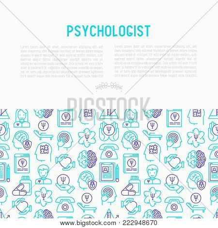 Psychologist concept with thin line icons: psychiatrist, disease history, armchair, pendulum, antidepressants, psychological support. Vector illustration for banner, web page, print media. poster