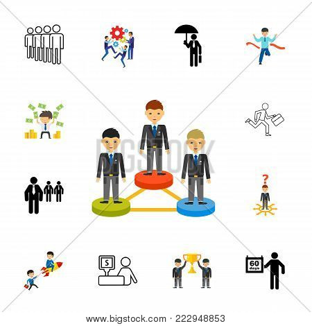 Icon set of business people. Team, company, business relationship. Businessman concept. Can be used for topics like business, success, promotion