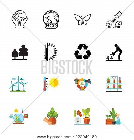 Icon set of eco symbols. Environmental conservation, climate, recycling. Environment concept. Can be used for topics like nature, ecology, hobby