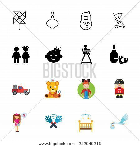 Icon set of family symbols. Nursery, childcare, childbirth. Baby concept. Can be used for topics like family, childhood, parenthood