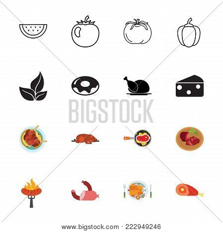 Icon set of food. Meal, cooking, recipe. Food concept. Can be used for topics like nutrition, cuisine, gastronomy
