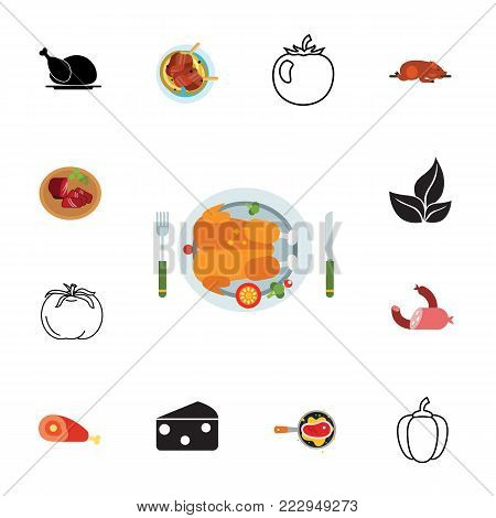 Icon set of food types. Dinner, cooking, menu. Meal concept. Can be used for topics like nutrition, cuisine, gastronomy