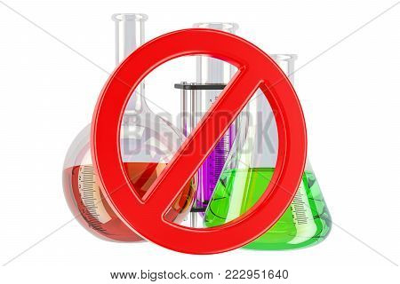 Forbidden sign with chemical flasks, 3D rendering isolated on white background