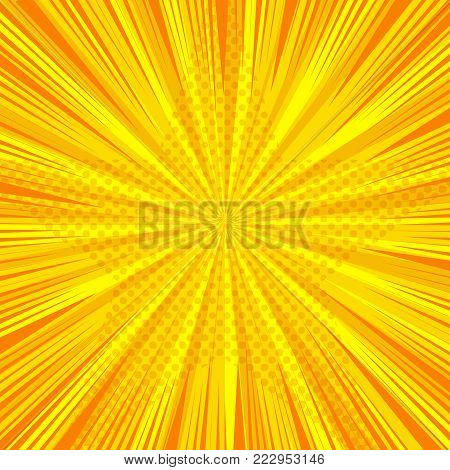 Comic book orange starry template with light halftone star shape and rays on radial background. Vector illustration