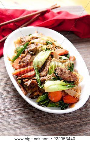 decadent thai beef stir fry pad see ew style
