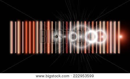 Futuristic Stripe Background Design With Lights On Black