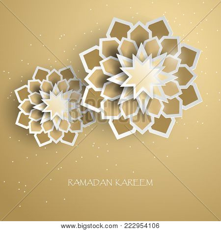 Greeting card with intricate Arabic paper graphic of Islamic geometric art, golden star. Concept for Ramadan (glorious month of Ramadan, muslim community festival)
