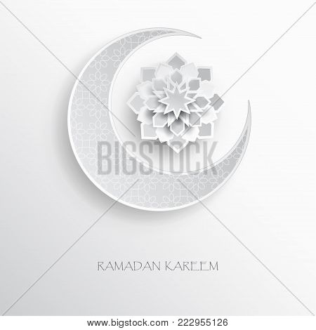Paper graphic of islamic crescent moon, star shape. Islamic decoration. Ramadan Kareem - glorious month of Muslim year. Modern paper cut concept