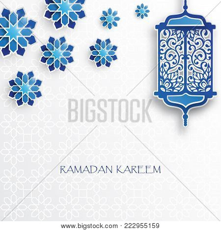 Paper graphic of islamic lantern and stars. Islamic decoration. Ramadan Kareem - glorious month of Muslim year. Modern 3d paper cut concept
