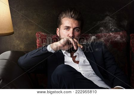 Portrait of an attractive business man with a cigar