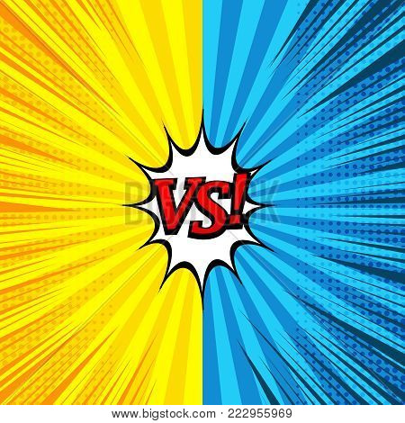 Comic versus bright background with two opposite yellow and blue sides, speech bubble, halftone, rays and radial effects. Vector illustration