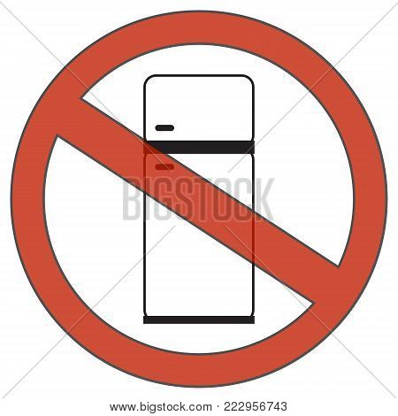 Refrigerator with a prohibitory sign. A simple icon without fill. Vector illustration.