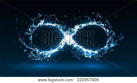 vector illustration of infinity symbol with energy particles