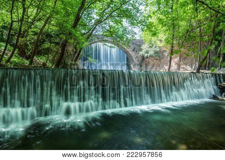 Amazing double waterfall in Paleokaria  in Greece