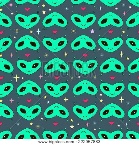 Funny heads of aliens in the form of hearts with antennas seamless vector space background Valentine s day. Cartoon doodle style. Lovely faces of extraterrestrial beings cute pattern.