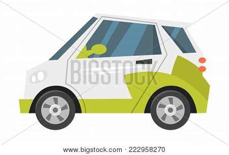 Vector cartoon style illustration of electric car. Eco-friendly transport. Isolated on white background. Icon for web.