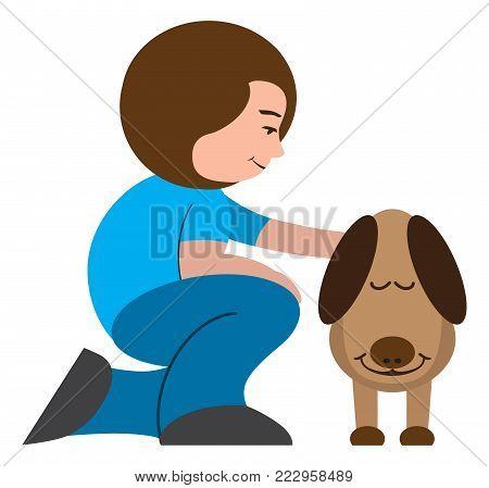 A cartoon woman is petting her very appreciative dog