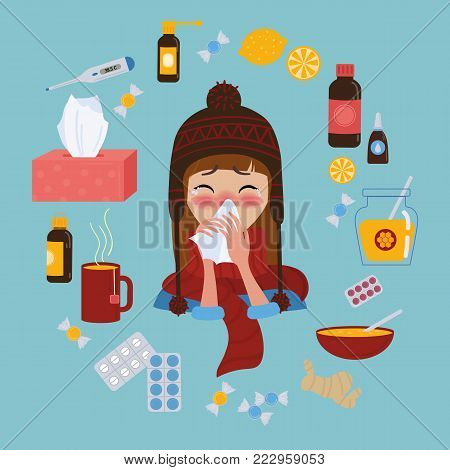 Young girl in red hat and scarf caught cold flu or virus. She has red nose, high temperature and holds napkin. Ways to treat illness. Pills, honey, tea, medicine. Vector isolated objects on background