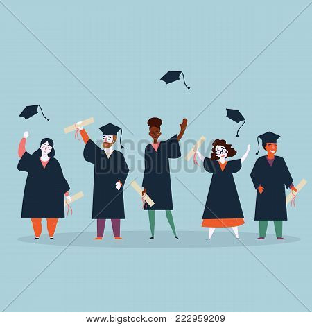 University students graduation. Young people in mantles are celebrating ending of education in university and throw graduation caps in the air. Man and women with diplomas. Flat vector illustration