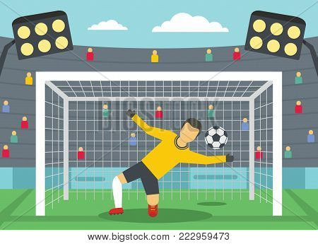 Soccer goalkeeper on stadium concept. Flat illustration of soccer goalkeeper on stadium vector banner horizontal concept for web