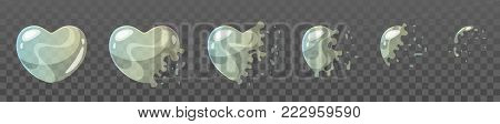 Vector cartoon style set of game soap heart shape bubble burst sprites for animation. Game user interface (GUI) element for video games, computer or web design.