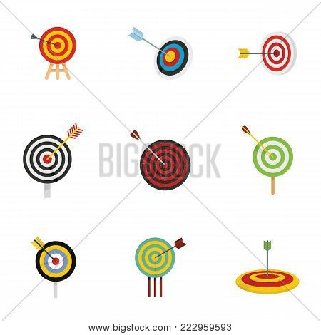 Target with arrow icons set. Flat illustration of 15 target with arrow vector icons for web