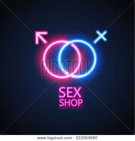 Sex shop neon sign brick wall background. Gender man woman symbol, brigh light electric lamp illuminated glowing decoration. Signage advertising design template Retro vintage store banner illustration