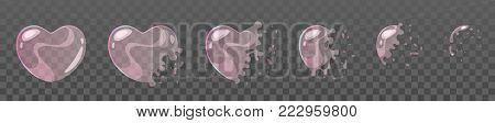 Vector cartoon style set of game soap heart shape pink bubble burst sprites for animation. Game user interface (GUI) element for video games, computer or web design.