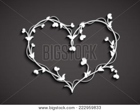 Decorative ornament in the form of a stylized white heart intertwined with vines, leaves and little hearts instead of flowers on a dark background, for registration, greetings, postcards and logos for a party in honor of Valentine's Day