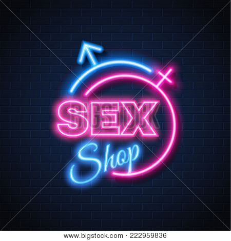 Sex shop neon sign brick wall background. Gender man woman symbol, bright light electric lamp illuminated glowing decoration Signage advertising design template Retro vintage store banner illustration
