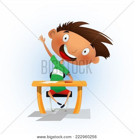 Clever cartoon school boy sitting at the desk and raising hand to answer. Back to school concept illustration. Vector