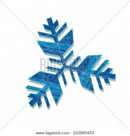 snowflake. Abstract snowflake of geometric shapes. Sign of the blue snowflakes. Christmas. New Year card illustration. Holiday design. Winter. Backdrop. White background with blue snowflakes.