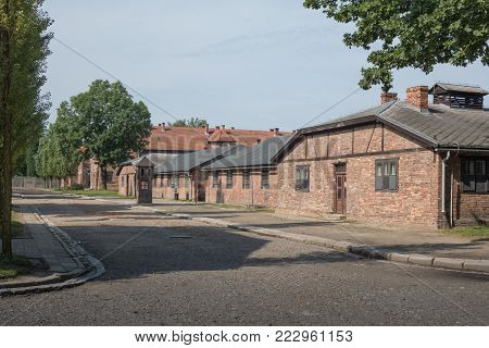 AUSCHWITZ, POLAND -  JULY 23, 2017. Nazi concentration camp Auschwitz I, Auschwitz, Poland