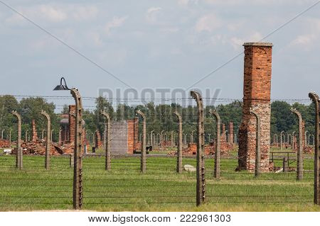 AUSCHWITZ, POLAND -  JULY 23, 2017. Nazi concentration camp Auschwitz II, Auschwitz Birkenau, Poland