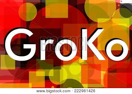 GroKo, short for Grosse Koalition in German (meaning Grand Coalition), written over abstract background with colours of the flag of Germany
