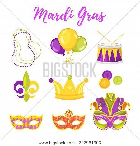 Vector  cartoon style illustration of Mardi Gras symbols: colorful holiday mask, golden crown and beads.