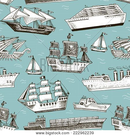 Ship vector boat vessel sailboat cruise liner or passenger steamship and powerful speedboat or motorboat submarine and yacht set illustration seamless pattern background.