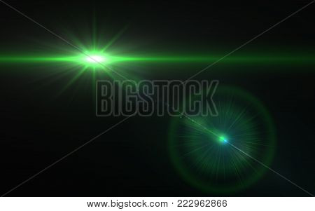 Design natural green lens flare. Rays background.Green shinny effects.