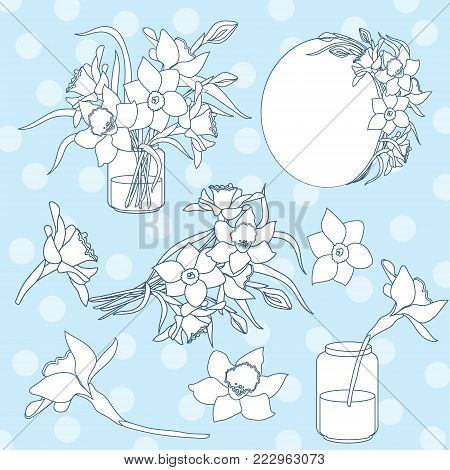 Black and white ink isolated vector clipart set, illustration of spring narcissus flowers