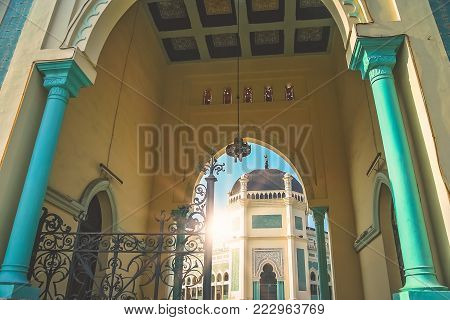 Entrance to the Great Mosque of Al-Mashun in Medan, Sumatra, Indonesia